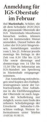 Ankündigung des Anmeldezeitraums für die Oberstufe in den Ostfriesischen Nachrichten vom 21.1.20