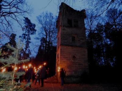 Siegesturm, Fackelwanderung 2020, Eckersdorf. ©Angelika Graczyk