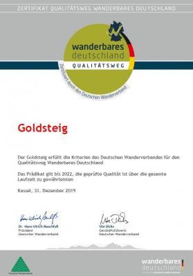 Urkunde Zertifizierung Goldsteig