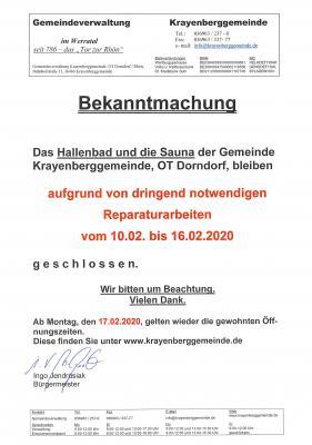 Vorschaubild zur Meldung: Hallenbad und Sauna der Gemeinde Krayenberggemeinde vom 10.02. bis 16.02.2020 geschlossen