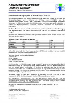 Foto zur Meldung: Information zur Fäkalschlammentsorgung