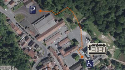 Vorschaubild zur Meldung: Parkplätze und Wegeführung zu Schloss Wächtersbach