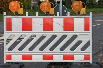 """Bauarbeiten in der Straße """"Herrenstraße/Marktplatz""""."""