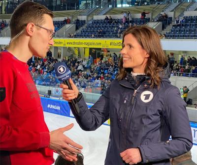 Christoph Schubert im Interview mit Franziska Schenk/ARD. Foto: DESG-Presse
