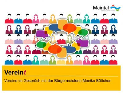"""Unter dem Motto """"Verein(t)"""" lädt Bürgermeisterin Monika Böttcher Vertreter*innen der Maintaler Vereine zum Gespräch ein. Collage: Stadt Maintal"""
