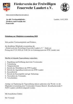 Vorschaubild zur Meldung: Mitgliederversammlung Förderverein der Freiwilligen Feuerwehr am 7. März