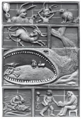 Unser Bild zeigt Details der Terrakotta-Wandplastik »Burattino-Relief« von Elena von Martens aus 1982/83. Sie wurde vor dem Abriss des Gebäudes der ehemaligen Kindertagesstätte an der Holbeinstraße gesichert und am 19. März 2019 im Museum eingelagert (Foto: Lutz Hannemann, Archiv Museum Falkensee).