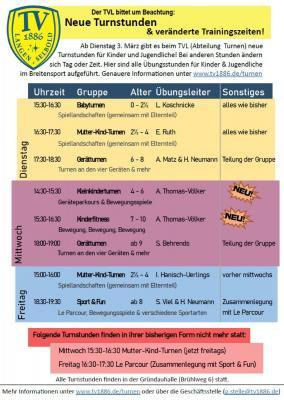 Foto zur Meldung: Neue Turnstunden und veränderte Trainingszeiten!
