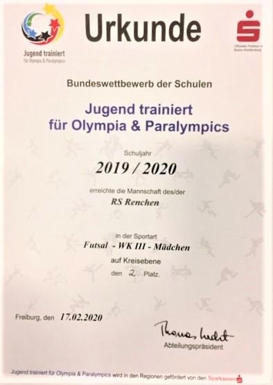 Vorschaubild der Meldung: Futsal - Schülerinnen erreichen zweiten Platz im Ortenaukreis