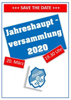 Vorschaubild zur Meldung: Vorstand - Jahreshauptversammlung 2020 +++ SAVE THE DATE +++