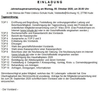 Foto zur Meldung: Einladung zur Mitgliederversammlung am 05. Oktober 2020