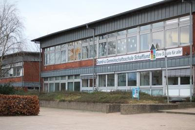 Foto zur Meldung: Die Fassade der Schule wird saniert