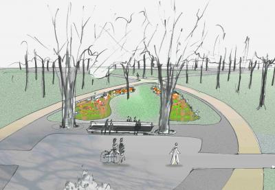 Konzeptzeichnung der Parkmitte des Landschaftsarchitekturbüro Schrickel + Partner I Quelle: Schrickel + Partner