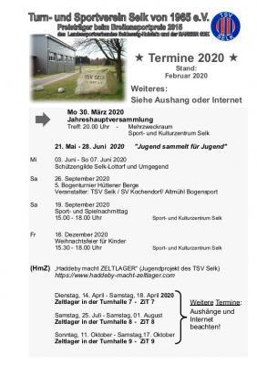 Foto zu Meldung: Termine des TSV Selk, Stand Februar 2020