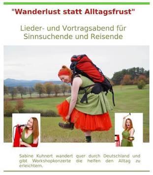 """Foto zur Meldung: """"Wanderlust statt Alltagsfrust"""" - Sabine Kuhnert gibt auf ihrer Wanderung durch Deutschland ImpulsKonzerte zum Thema Entschleunigung, Achtsamkeit und Glück"""