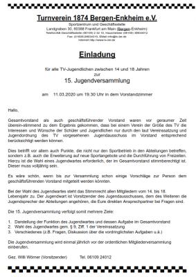 Vorschaubild zur Meldung: Einladung zur 15. Jugendversammlung