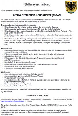 Stellenausschreibung Stellvetretender Bauhofleiter