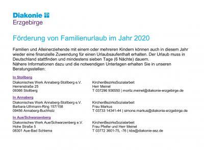Vorschaubild zur Meldung: Förderung von Familienurlaub 2020 durch das Diakonische Werk
