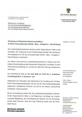 Einladung zur Bürgerinformationsveranstaltung