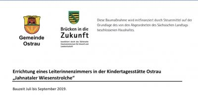 Vorschaubild zur Meldung: Publizitätspflicht zur geförderten Maßnahme in der Kita Ostrau