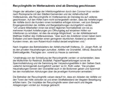 Mitteilung Recyclinghöfe geschlossen