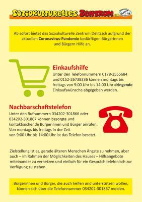 Schnelle Vernetzung: Nachbarschaftstelefon, Einkaufshilfe und Angebotskoordinierung durch das Soziokulturelle Zentrum Delitzsch