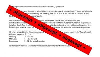 Foto zur Meldung: Eröffnung Büro REKOSI in Vetschau / Spreewald - abgesagt