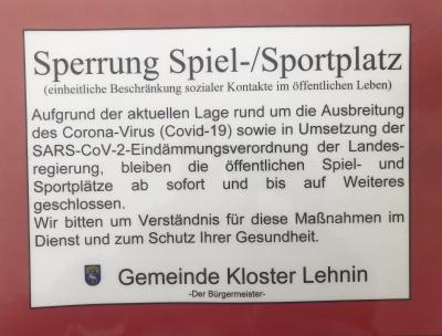 Foto zur Meldung: Spiel- und Sportplätze sind gesperrt