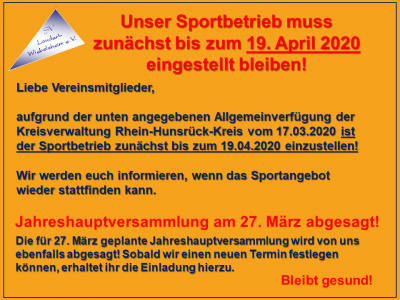 Foto zur Meldung: Einstellung des Sportbetriebes und Absage der Jahreshauptversammlung