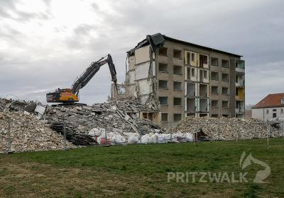 Der Abrissbagger reißt den zweiten Block in der Schillerstraße ab. Foto: Beate Vogel