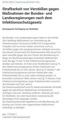Vorschaubild zur Meldung: Staatsanwaltschaft Trier: Strafen bei Verstoß gegen die beschlossenen Maßnahmen