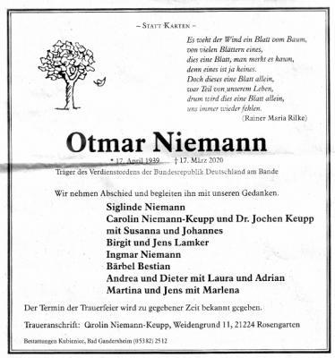 Todesanzeige O. Niemann