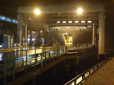...spät am Abend des 18.03.2020 im Fährhafen Mukran