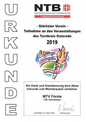 Turnkreis Urkunde 2019