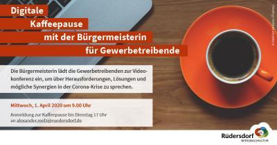 Vorschaubild zur Meldung: Bürgermeisterin lädt zur digitalen Kaffeepause für Gewerbetreibende