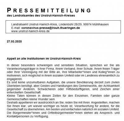 Vorschaubild zur Meldung: Appell an alle Institutionen im Unstrut-Hainich-Kreis