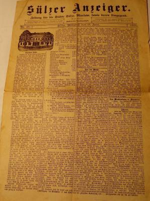 Vorschaubild zur Meldung: Kultur- und Heimatverein e.V. archiviert alte Sülzer Zeitungen von 1898 bis 1904