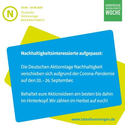 Vorschaubild zur Meldung: Verschoben: Die Deutschen Aktionstage Nachhaltigkeit werden im Herbst stattfinden
