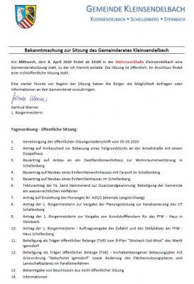 Foto zur Meldung: Gemeinderatssitzung in Kleinsendelbach am 8.04.2020