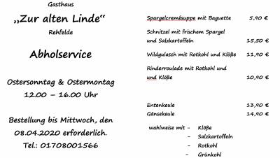 Foto zur Meldung: Gasthaus zur Linde - Abholservice Osterangebot
