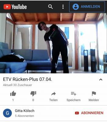 """Vorschaubild zur Meldung: Update: Gitta Kölsch goes YouTube - Online-Kurs """"RückenPLUS"""""""