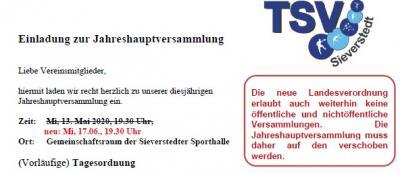 Foto zur Meldung: Einladung zur Jahreshauptversammlung - ACHTUNG: Neuer Termin 17.06.