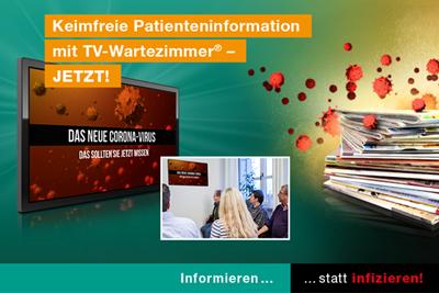 Keimfreie Patientenkommunikation mit TV-Wartezimmer