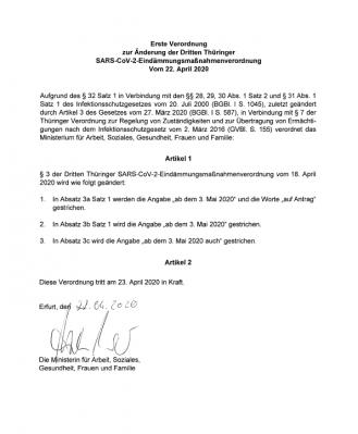 Erste Verordnung zur Änderung der Dritten Thüringer SARS-CoV-2-Eindämmungsmaßnahmenverordnung