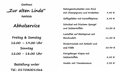 """Foto zu Meldung: Gasthaus """"zur alten Linde"""" mit neuer Speisekarte"""
