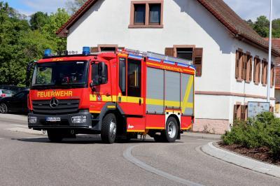Ankuft neues HLF am Kleinsteinbacher Kreisel am 29.04.