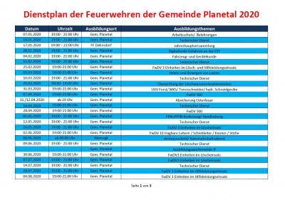 Dienstplan der Feuerwehren Gemeinde Planetal 2020