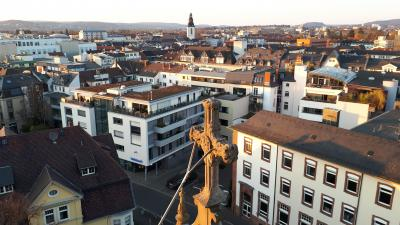 Blick vom Turm der Johanneskirche in Richtung Stadtkirchenturm
