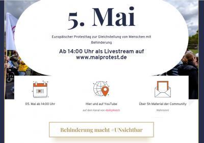 Foto zur Meldung: Inklusion: !HEUTE! am 5. Mai, um 14 Uhr im Livestream:  Europäischer Protesttag zur Gleichstellung behinderter Menschen