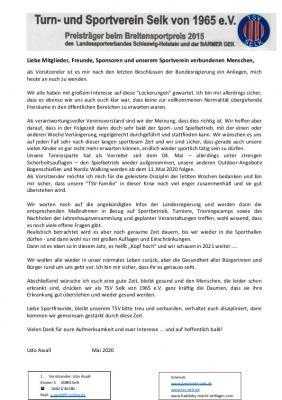 Vorschaubild zur Meldung: Offener Brief zur Corona-Krise vom Vorstand des TSV Selk